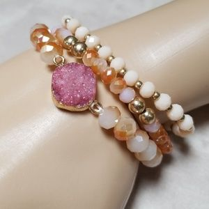 NWT Boho Bracelet Set, Stretch,  Druzy,  stackable
